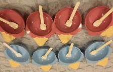 """New listing 8 Pastel Plastic Ice Cream """"cone� Bowls & 8 Spoons ~ 1990's~ 4 Blue ~ 4 Pink"""
