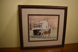 P Buckley Moss Signed Print Stage Coach Stop 393/1000 Issued 1994 Sold Out