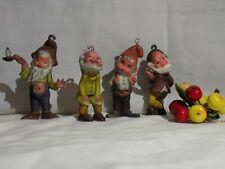 4 Vintage Hard Plastic Gnomes, Elves Dwarfs