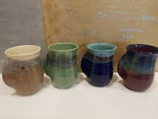 NEHER Studio Art Pottery Clay Hand Warmer Coffee Mugs / Cups Set of 4