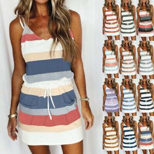UK Womens Summer Sleeveless Mini Dress Ladies V Neck Striped Dresses Plus Size
