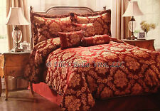 NWT 7pc COMPLETE QUEEN COMFORTER SET w/SILKEN ROPE TRIM BURGUNDY GOLD JACQUARD