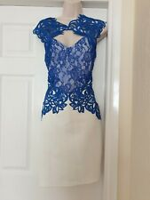 Lipsy Blue and White Lace Bodycon Scuba Dress - Size 16  BNWT - Races/Wedding