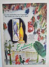 1951 Bourjois endearing perfume bottle dusting powder vintage fragrance ad