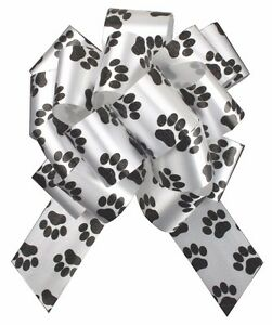 DOG CAT PUPPY PAW PRINT PULL BOWS - Gift Basket Hamper Party Ribbon Pull Bows