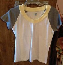 Women's SB Active Top Size M/M White Grey Sleeves Yellow Trim. Cotton