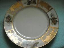 Hand Painted Oriental Designed Plate Gold Trim w Scenes Vintage