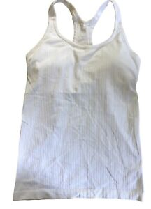 LULULEMON Ebb To Street Tank II size 8 Top Support For B/C Cup White Yoga EUC