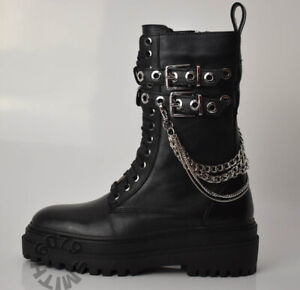BNWT Zara Black Leather Chunky Boots With Chains Size 4