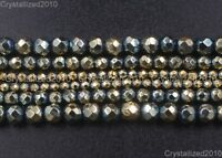 Natural Hematite Gemstone Green Pyrite Plated Faceted Round Beads 6mm 8mm 15''