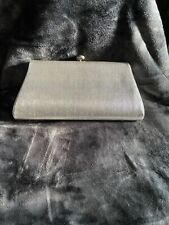 Vintage Evening Bag Clutch Shiny Silver Top Clasp Good Condition