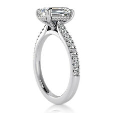 2.35 Carat H VS1 Solitaire Emerald Cut Diamond Engagement Ring 14k White Gold