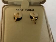 14k Yellow Gold Cross Design Clip Earrings