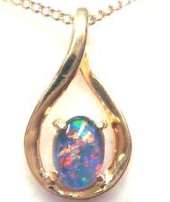 FREE JEWELLERY BOX Australian Opal Natural Black TripletPendant Solid Sliver