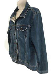 LL Bean Womens XL Blue Jean Denim Farmer Trucker Biker Button Frt Jacket
