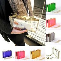 Transparent Acrylic Perspex Women Clutch Purse Evening Bag Handbag Shoulder Bag!