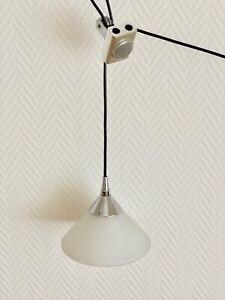 Sölken-Pendelleuchte m. Gegengewicht/ Leuchte mit Zugpendel/Glas-70er/80er Jahre