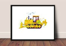 digger print  nursery picture a4 gloss gift UNFRAMED construction 1