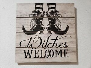 """Halloween Vintage Style Witch Boots WITCHES WELCOME Wall Sign Decor 11.75"""""""