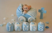 edible pram cake topper,boy/girl/christening decoration cross name block age