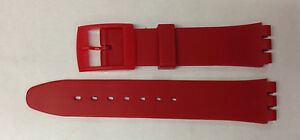 Plastic Resin SWATCH Replacement Watch Strap -17mm - Red Resin