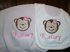 Jungle Jill Girl Monkey Safari Personalized Baby Infant Blanket & Bib Set