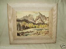 Mountain Scene Lithograph Robert I. Weinberg Publishing 12 x 14 Wood Frame