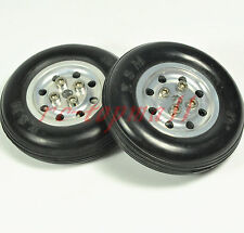 "1 Pair 4.5""/ 114.3mm Solid Rubber Wheels with Alu Hub For RC Aircraft Model"