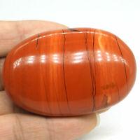 "2.36"" Natural Red Jasper Crystal Palm Massage Energy Stone Healing Reiki Decor"