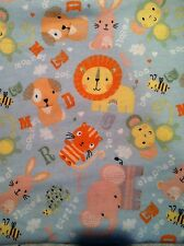 Tossed Cute Animals on Light Blue Background - Snuggle Flannel Fabric - BTY