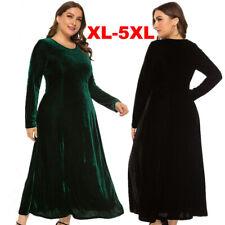 Women Oversize Velvet Round Neck Tea Evening Gown Cocktail Party Long Maxi Dress