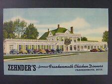 Frankenmuth Michigan Zehnder's Restaurant Cars Curt Teich Linen Postcard 1948