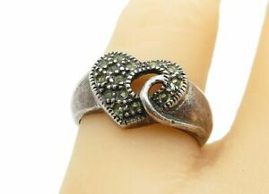 925 Sterling Silver - Vintage Marcasite Love Heart Band Ring Sz 7 - R11189