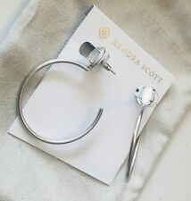 KENDRA SCOTT SMALL PEPPER HOOP EARRINGS NWT POUCH RTL $68 SILVER MOTHER OF PEARL