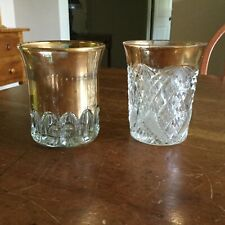 Pressed Glass Tumblers With Gold - Lot Of Two