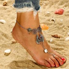 Flower Hollow Carved Water Drop Shape Tassel Ankle Bracelet Foot Chain Jewelry