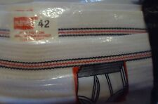 Nos Vtg White 100% Cotton Hanes Briefs Underwear Red Black Stripe Waist 44 1983