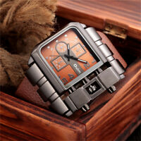 Men Steam Punk Oversize Military Watches Leather Strap Analog Quartz Watch OULM