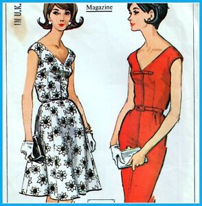 "Vintage 60s SLIM & FULL SKIRT DRESS Sewing Pattern Bust 42"" 44"" Size 18 20 RETRO"
