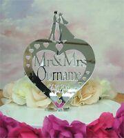 Personalised Wedding Heart Cake Topper Mr & Mrs Name Keepsake Mirror Acrylic 11n