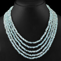 375.00 CTS NATURAL 5 STRAND RICH BLUE AQUAMARINE ROUND FACETED BEADS NECKLACE