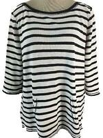 Liz Claiborne Weekend top size XL long sleeve black white stripe front pocket