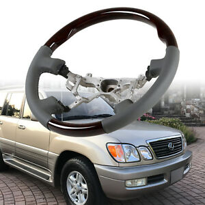Steering Wheel Wood Grain Leather Grip For Toyota Land Cruiser 100 Lexus LX470