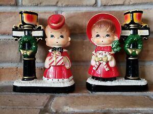 Vintage BLUME Vintage BOY GIRL CHRISTMAS Caroler Candle Holders Lamppost Japan