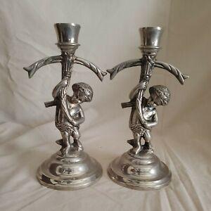 Cherub Silver Plate Candlesticks - pair - from Neiman Marcus