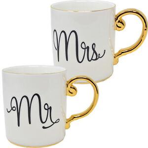 MR AND MRS GOLD PORCELAIN MUG COFFEE CUP TEA MUGS GIFT ANNIVERSARY SET BOX NEW
