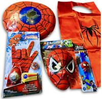 SPIDERMAN TOYS BUNDLE Boy Kids Costume Web shooter spider-man Mask Shield +Watch