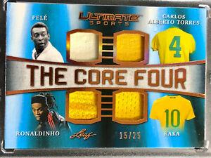 Pele! Ronaldinho! Kaka!! All Game Worn Patches! 2019 The Core Four /25 Brazil