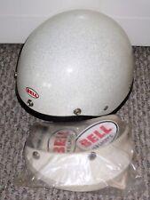 NOS VTG BELL TOPTEX SHORTY WHITE METALFLAKE MOTORCYCLE HALF SHELL HELMET 7-1/4