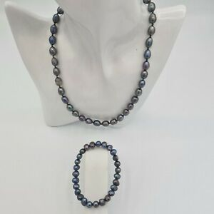 Freshwater pearl necklace with silver stamped clasp & freshwater pearl bracelet